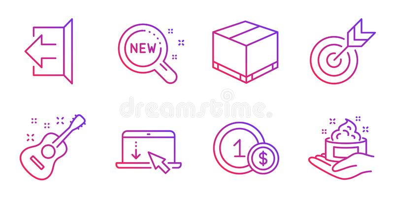 Target, Usd coins and Guitar icons set. Scroll down, Delivery box and New products signs. Vector. Target, Usd coins and Guitar line icons set. Scroll down vector illustration