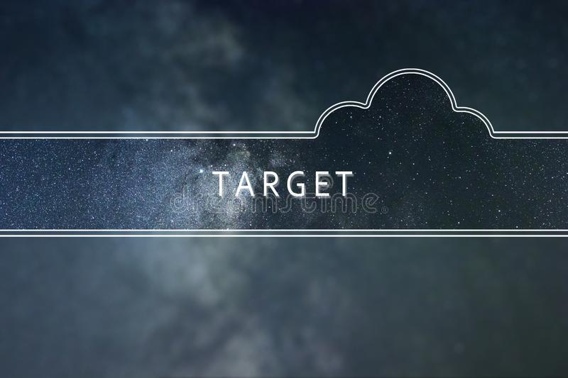 TARGET word cloud Concept. Space background. stock images