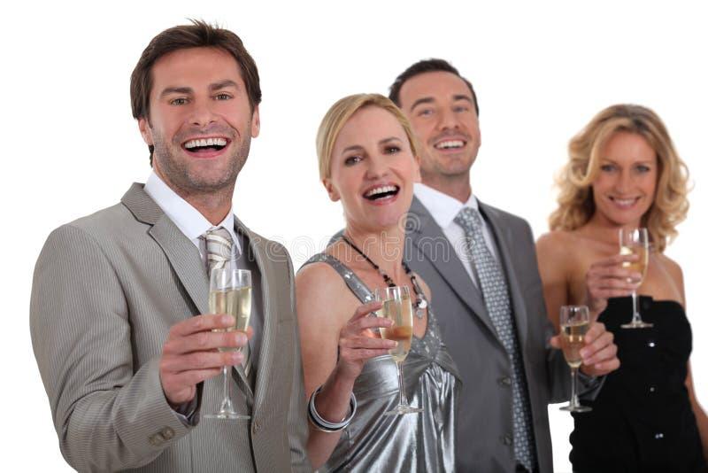 TARGET1053_0_ grupa ludzi szampan fotografia stock