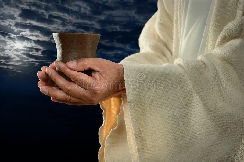 TARGET1131_1_ Filiżankę Jezus Ręki zdjęcie stock
