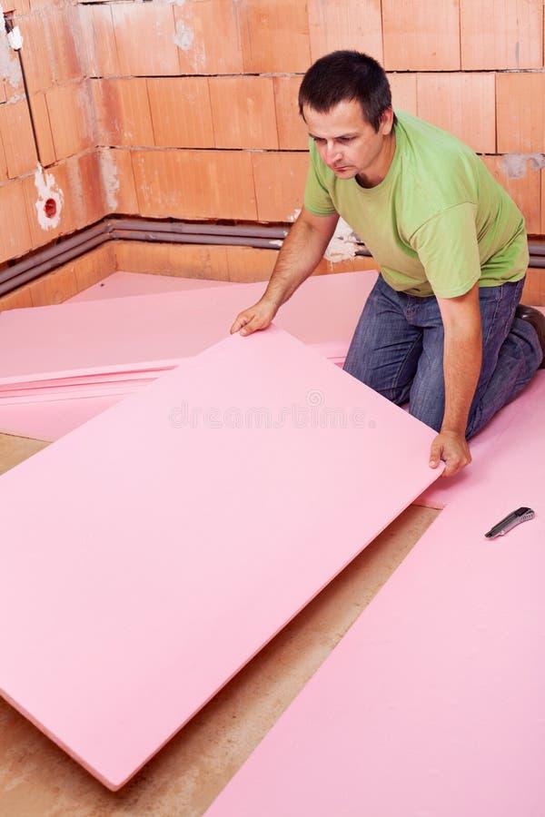 TARGET1197_0_ podłogową izolaci warstwę w nowym domu zdjęcie stock