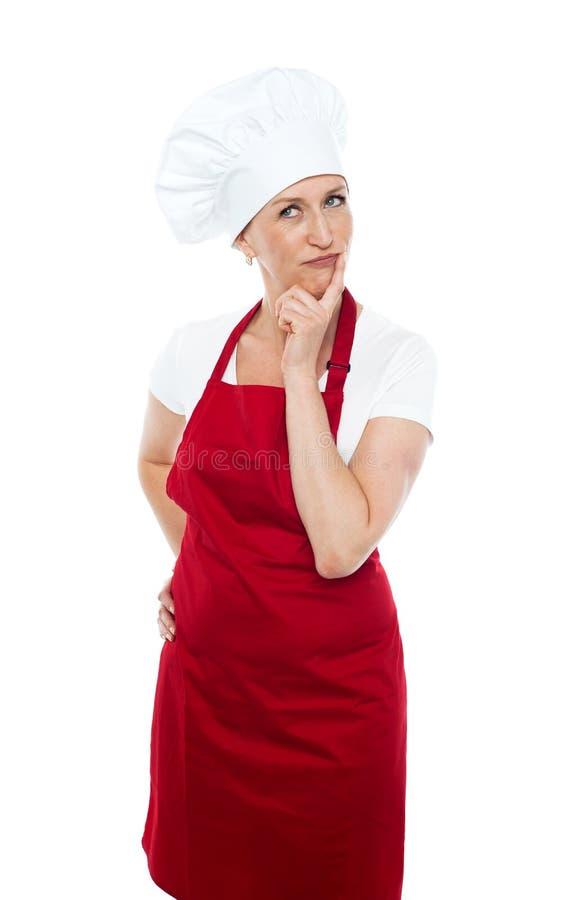 TARGET1199_0_ daleko od rozważny żeński szef kuchni fotografia stock