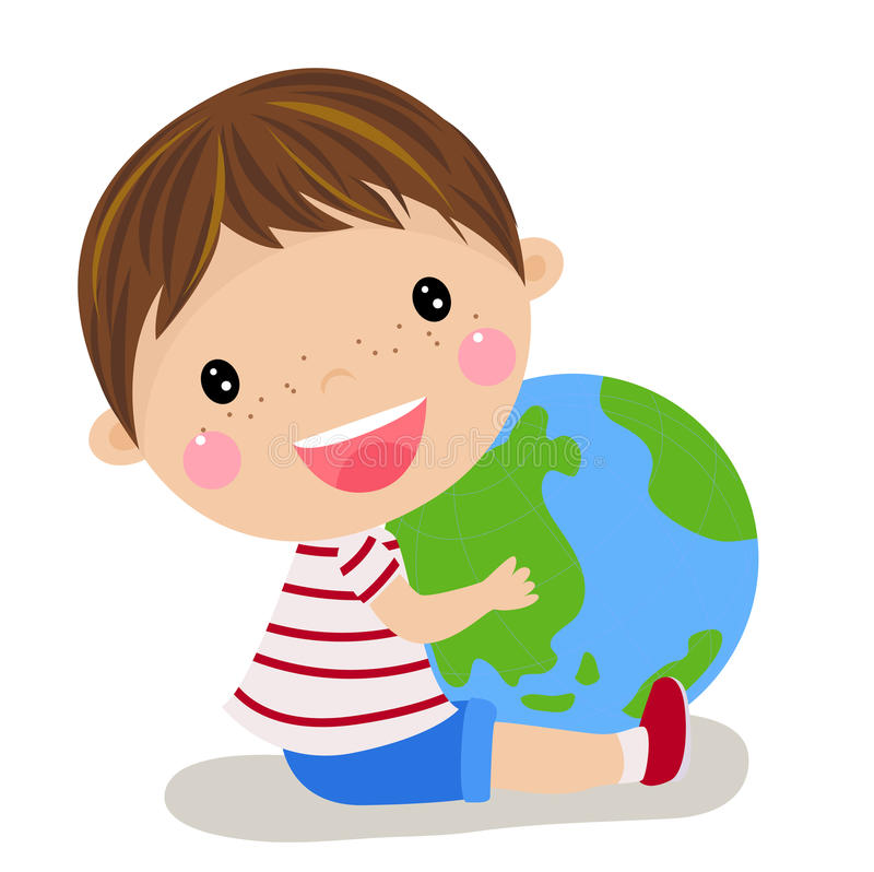 TARGET131_1_ kulę ziemską śliczna chłopiec ilustracji