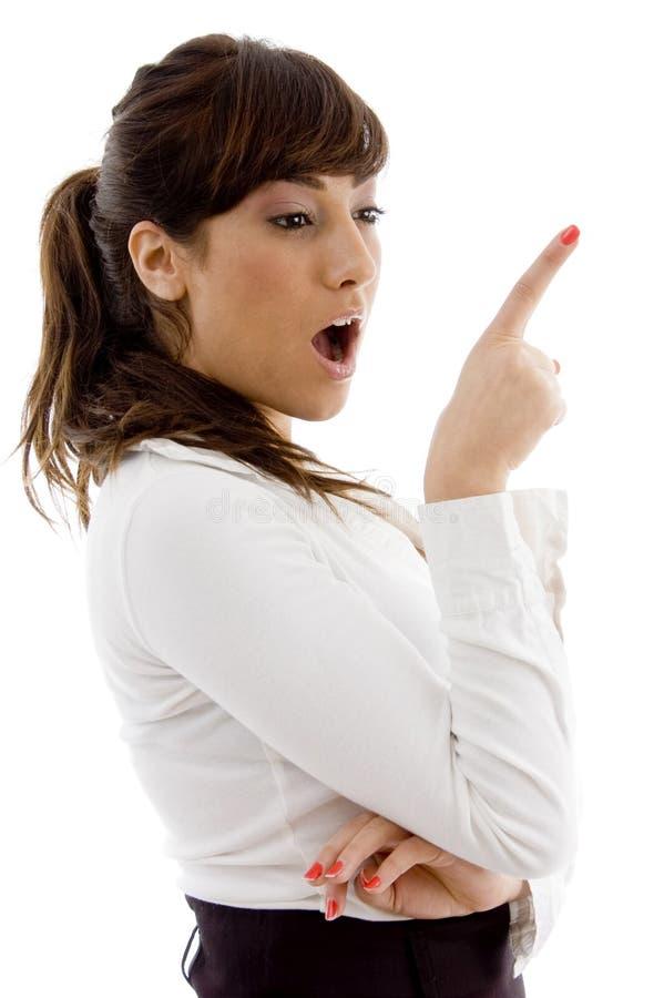 target1403_0_ zdziwionego strona widok adwokat kobieta obraz stock