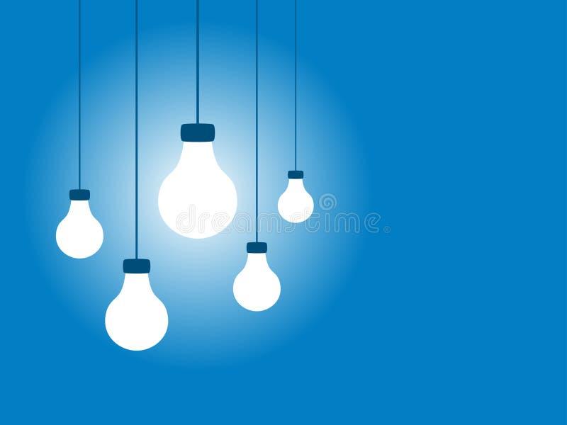 target1682_1_ światło błękitny tło żarówki ilustracji