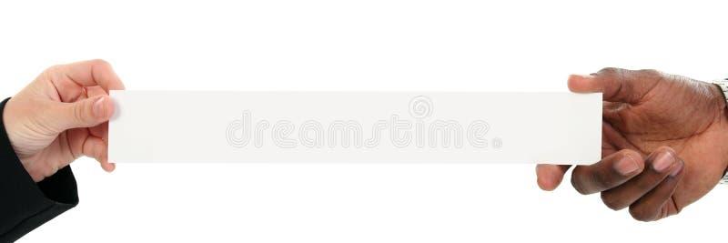 target1880_1_ przestrzeń odbitkowe wizytówek ręki obraz royalty free
