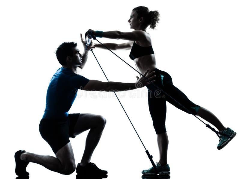 target1916_0_ sprawności fizycznej gymstick mężczyzna kobiety trening zdjęcia royalty free