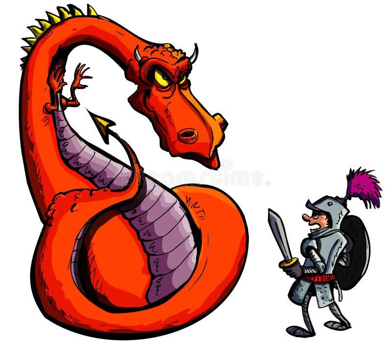 target2074_1_ srogiego rycerza kreskówka smok ilustracji