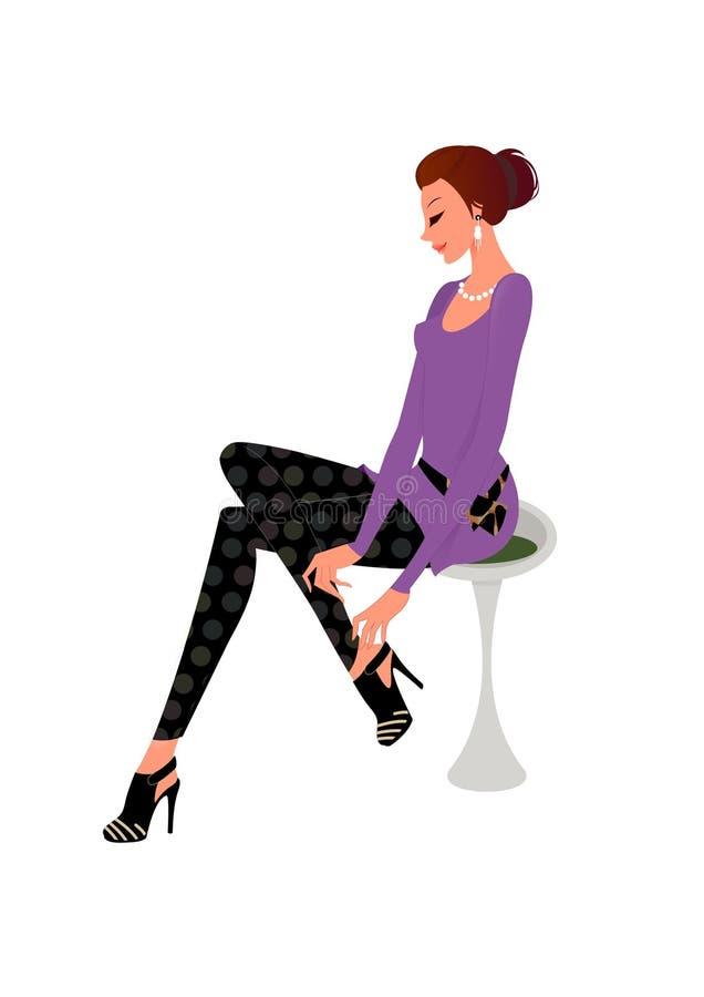 target2219_0_ kobiet potomstwa azjatykci piękni nowi buty ilustracja wektor