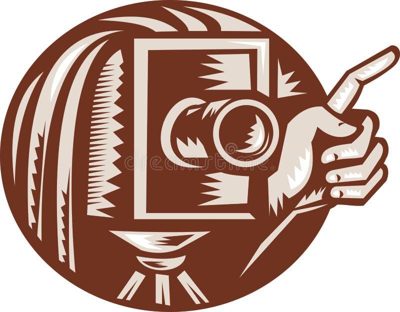 target2412_0_ retro rocznika kamery ręka ilustracji
