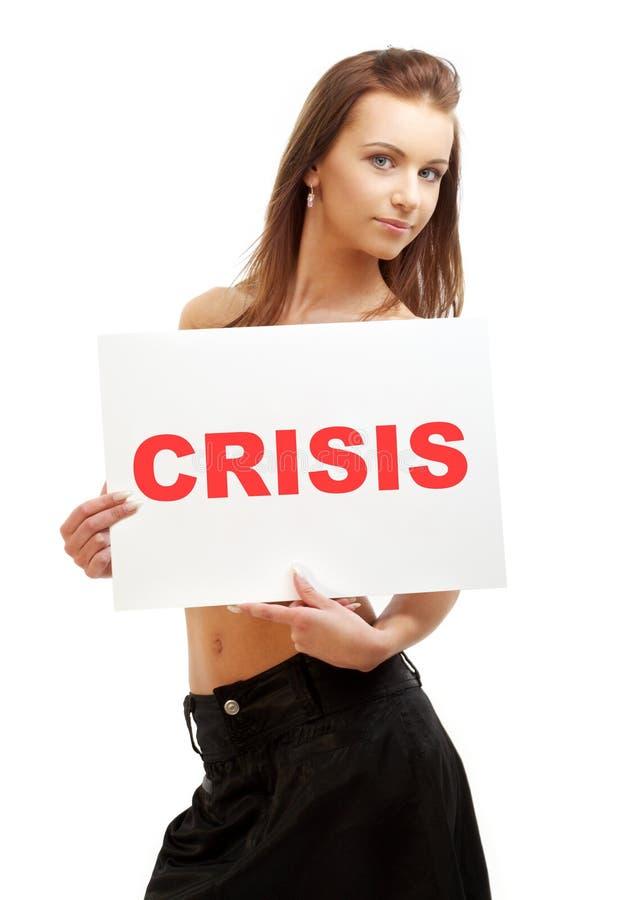 target26_1_ uroczego słowo kryzys deskowa dziewczyna obraz royalty free