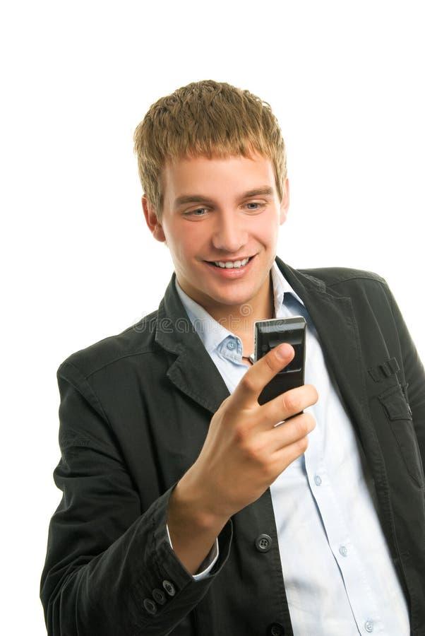 target3044_1_ mężczyzna telefon komórkowy obrazy royalty free