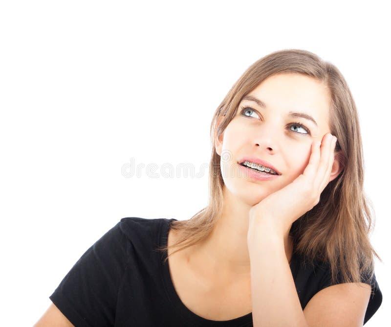 TARGET369_0_ zadumany młoda zadumana dziewczyna obrazy stock