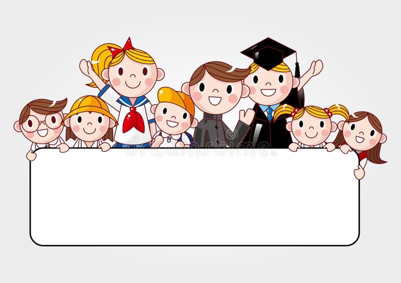 TARGET464_1_ sztandar reklamę grupa rozochocony uczeń royalty ilustracja