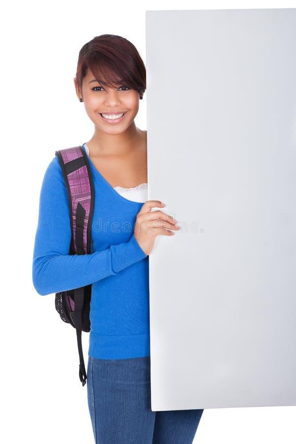 target4671_0_ ucznia sztandar dziewczyna piękna pusta zdjęcia stock