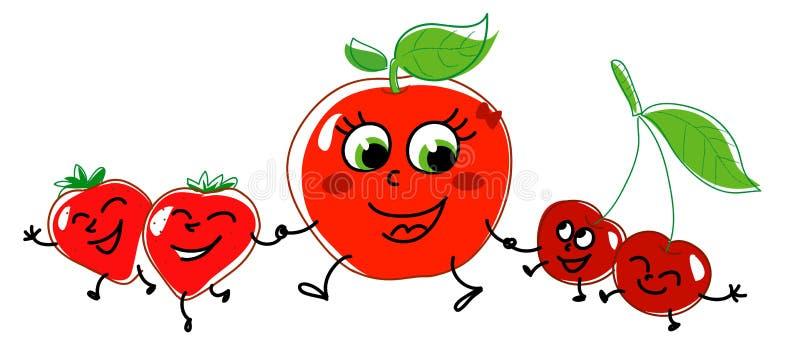 target502_0_ truskawki jabłczane wiśnie ilustracja wektor