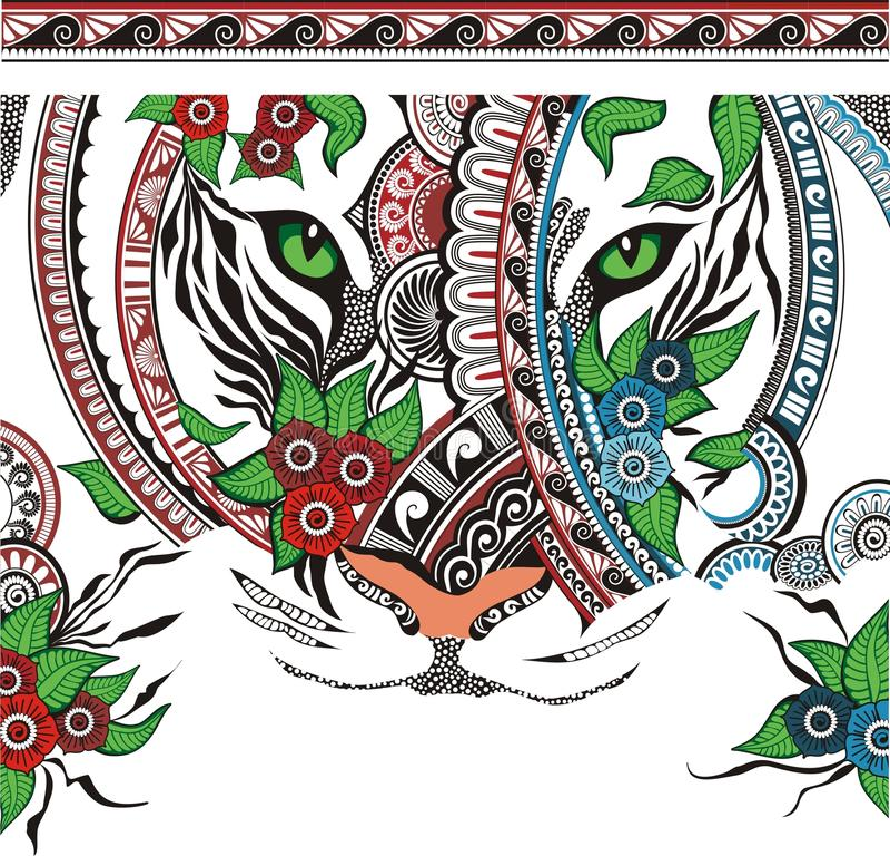 target586_0_ ornamentu tygrysa ilustracji