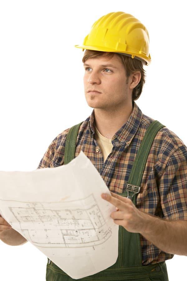 TARGET784_1_ podłogowego plan młody budowniczy fotografia stock