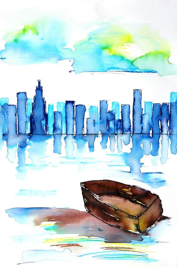TARGET792_1_ piękną linia horyzontu & łódź ilustracji