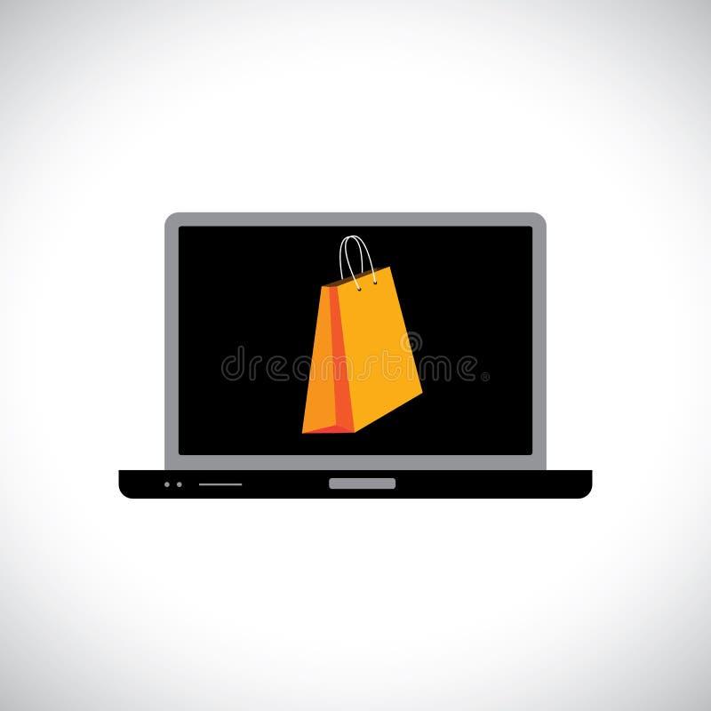 TARGET798_1_/zakupy online używać komputerowego (laptop) royalty ilustracja