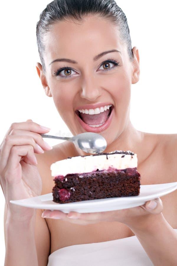 TARGET848_1_ smakowitych torty z podnieceniem kobieta zdjęcie royalty free