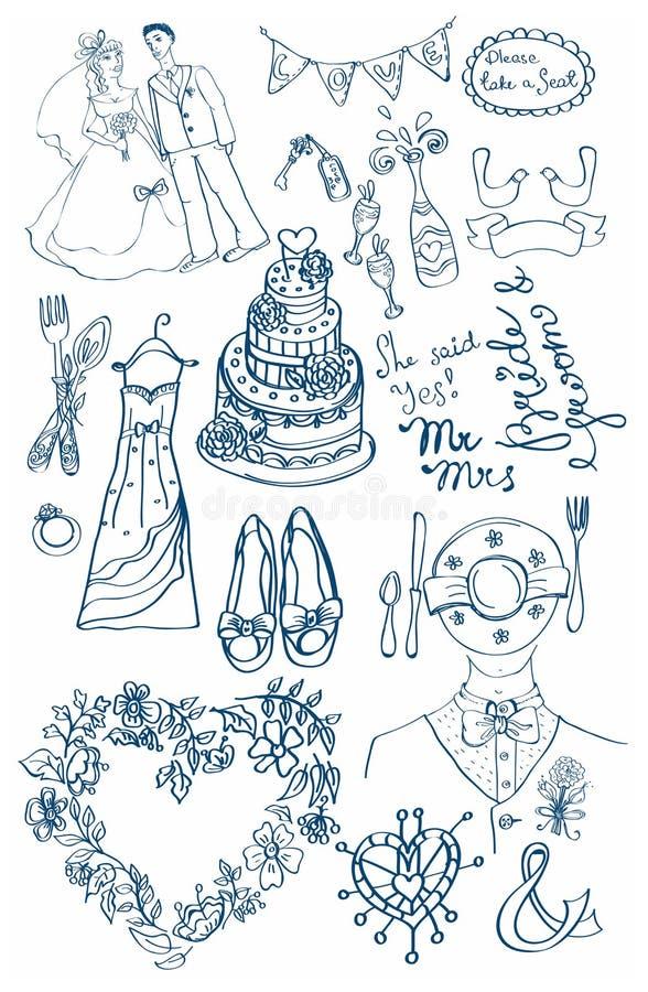 TARGET874_1_ ustawiam śliczni wspaniali doodles royalty ilustracja