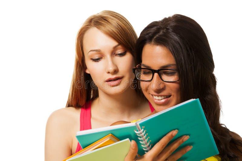 TARGET917_1_ książkę dwa dziewczyny fotografia stock
