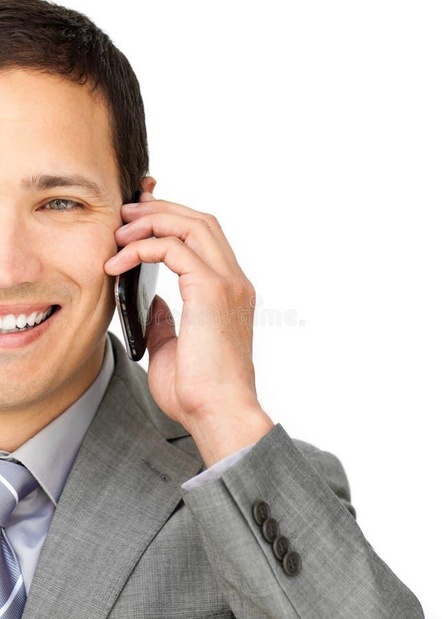 TARGET923_0_ na telefonie kaukaski biznesmen zdjęcie royalty free