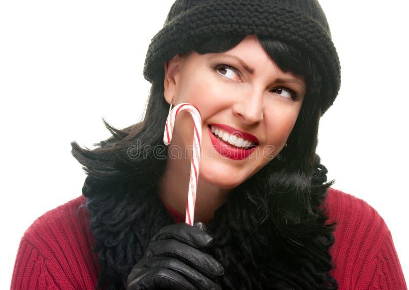 target991_1_ ładnej kobiety cukierek trzcina fotografia royalty free