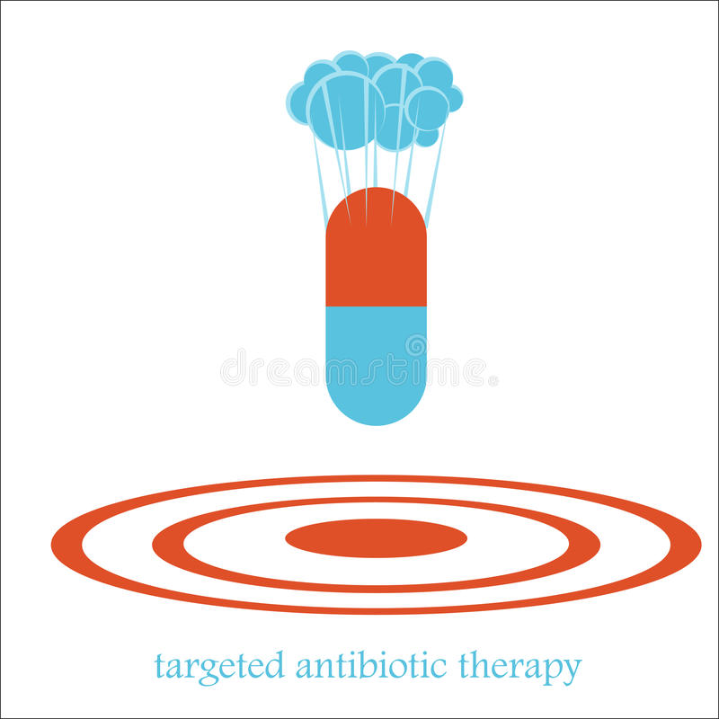 Targeted antibiotic therapy bomb concept stock illustration