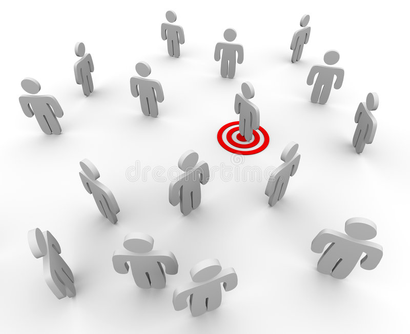 Targeted in a Crowd. One figure is targeted in a sparse crowd, symboliziong targeted marketing techniques vector illustration
