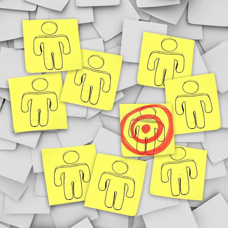 Targeted Customer in Bulls-Eye - Sticky Notes vector illustration