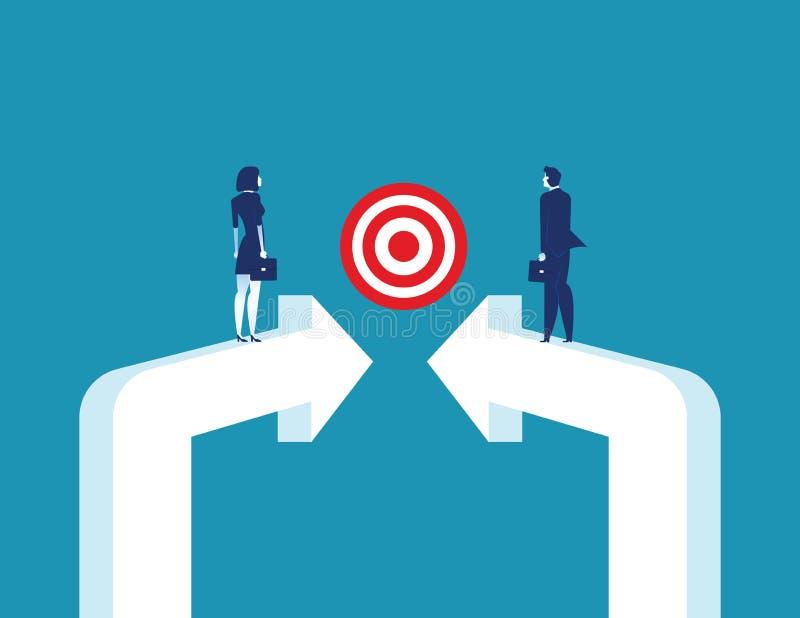 Targeted Together. Business partnership and target. Concept business vector illustration vector illustration