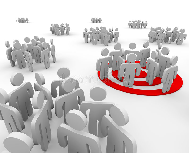 Targeting a Group of People. One group is targeted for marketing outreach with a bulls-eye under the figures royalty free illustration
