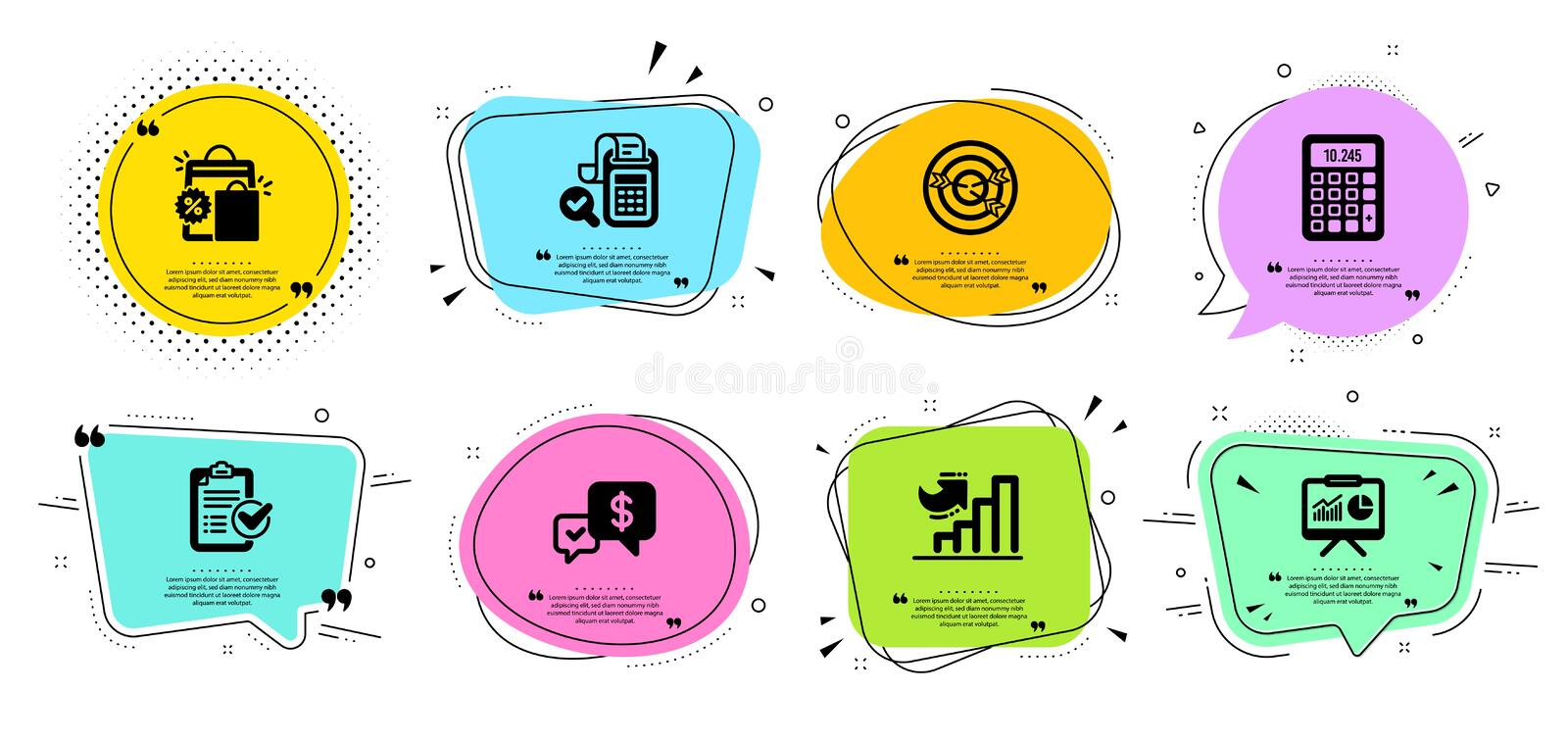 Targeting, Growth chart and Bill accounting icons set Presentation, Calculator and Shopping bags signs 矢量 库存例证