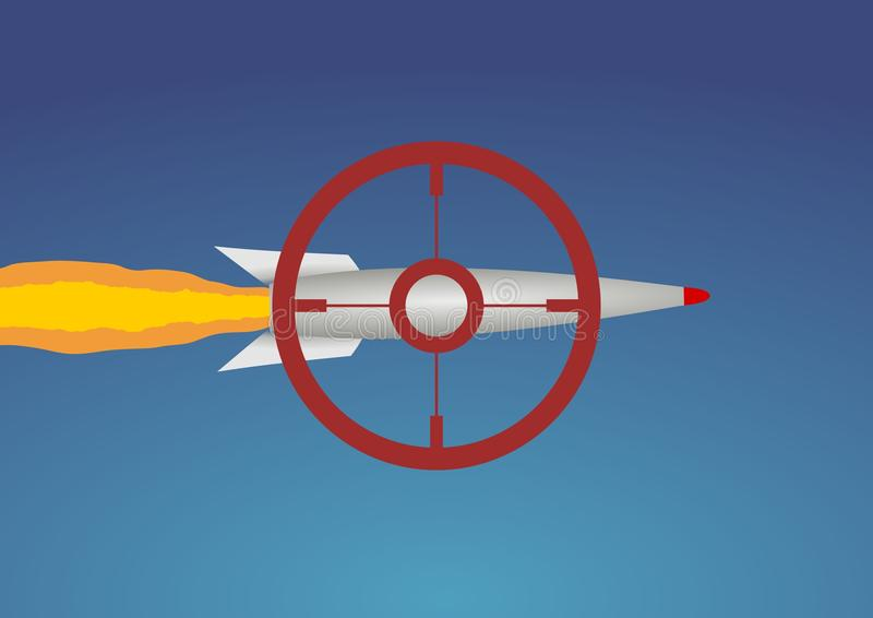 Targeting Missile. Illustration of a missile with a red target royalty free illustration