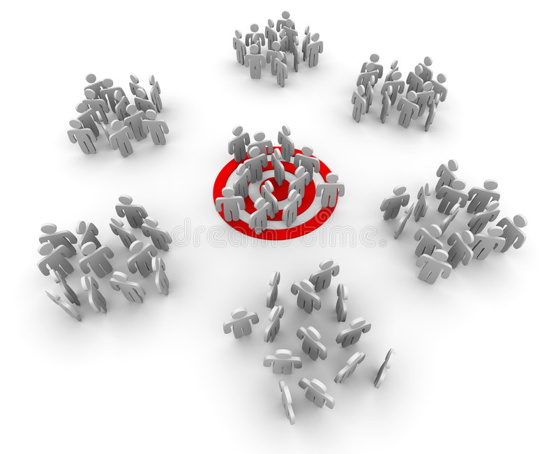 Targeting a Niche Group. One group of customers standing on a red target bullseye, with other groups gathered around at random royalty free illustration