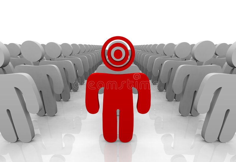 Targeting Your Customer. One customer in a group is targeted with a bulls-eye on his head, symbolizing the targeting of a consumer