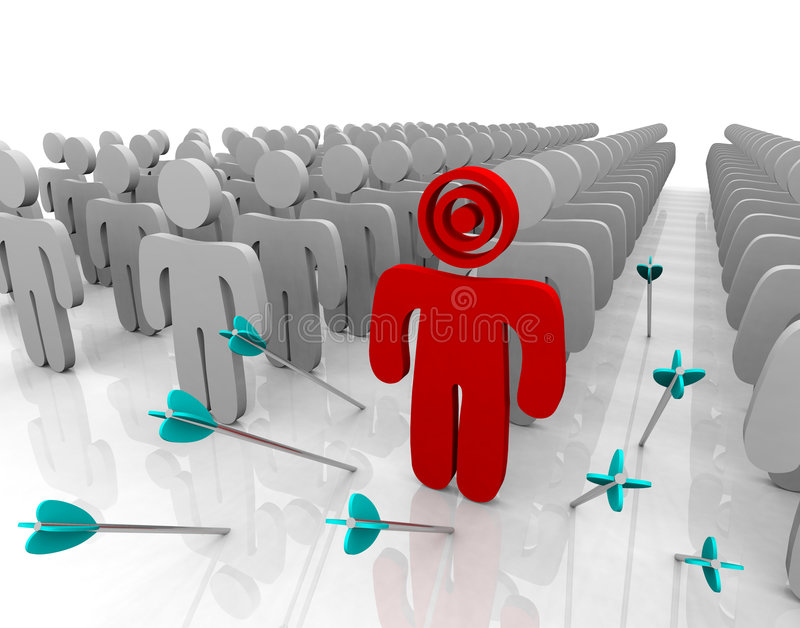 Targeting Your Customer - Missing. Targeting a single customer in a larger group but missing after shooting several arrows royalty free illustration