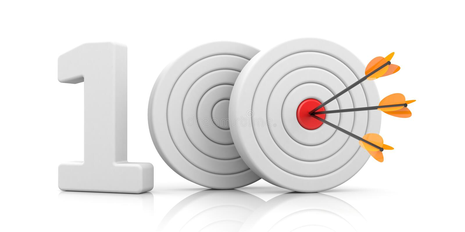 Targets with arrow form the red number 100. Accurate shot metaphors. Red stripe targets with arrow form the red number 100. Accurate shot metaphors. 3d royalty free illustration