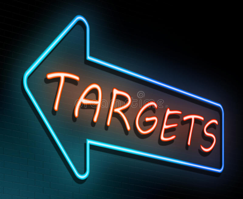 Targets neon concept. stock illustration