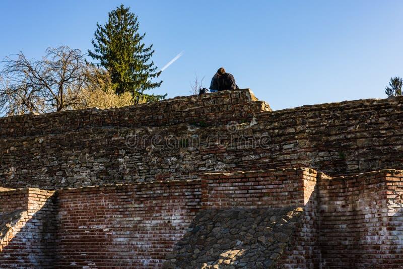 Targoviste,罗马尼亚- 2019年 亲吻在砖墙上的夫妇 库存照片