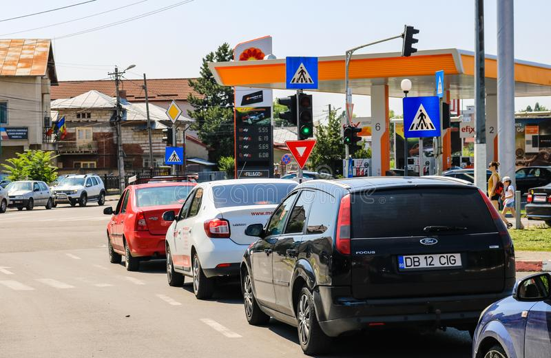 Targoviste, Romania - 2019. Cars waiting at the trafiic lights in the city.  royalty free stock photography