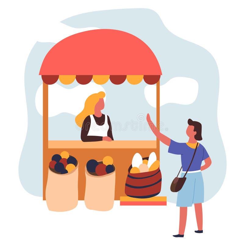 Targowe rolne owoc sprzedaje sprzedawcy w fartuchu, klient i nabywca ilustracja wektor