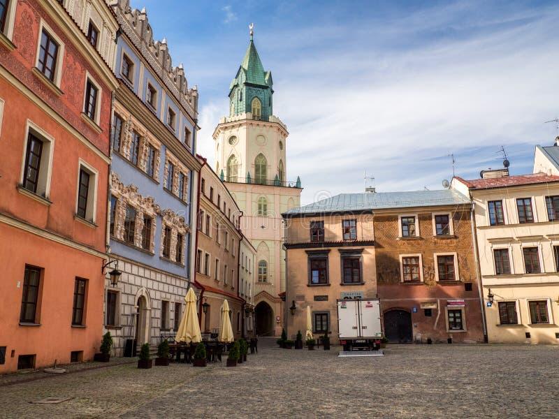 Targowego kwadrata i trynitarza wierza Lublin miasto obrazy stock