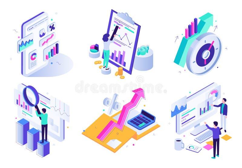 Targowy analityczny raport Pieniężna rewizja, strategia marketingowa przegląd i finansowy biznesowej statystyki isometric 3D wekt ilustracji