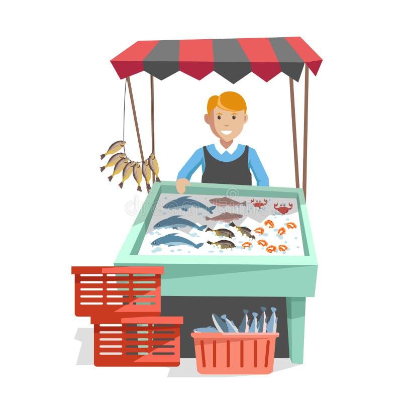 Targowy drewniany kontuar z organicznie owoce morza na lodzie i sprzedawcy w fartuchu ilustracja wektor