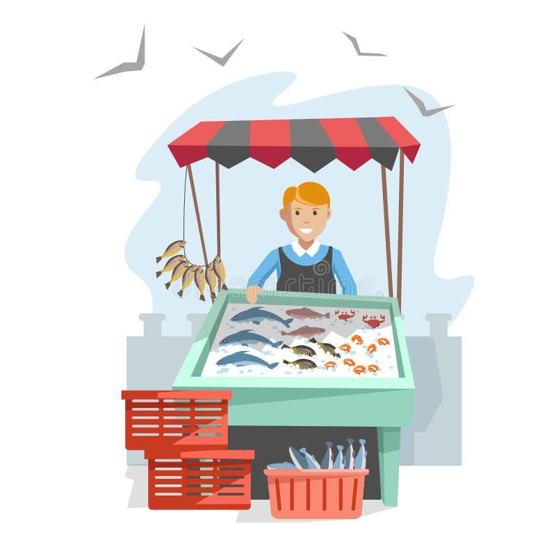 Targowy drewniany kontuar z owoce morza na lodzie i sprzedawcy ilustracja wektor
