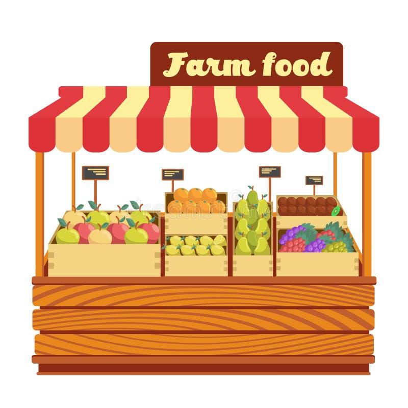 Targowy drewno stojak z rolnym jedzeniem i warzywami w pudełkowatej wektorowej ilustraci royalty ilustracja
