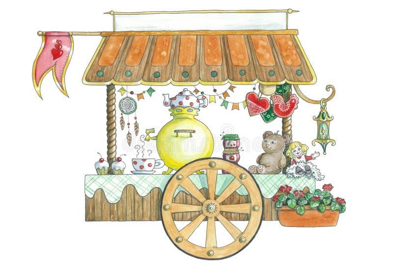 Targowy furgon z herbat ciastkami i zabawkami ilustracji